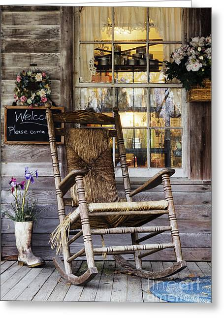 Old Wooden Rocking Chair On A Wooden Porch Greeting Card by Jeremy Woodhouse