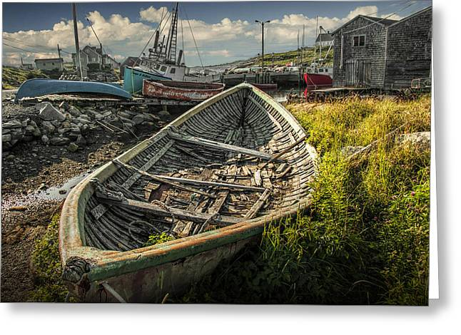 Old Wooden Row Boat In The Harbor At Peggy's Cove Greeting Card by Randall Nyhof