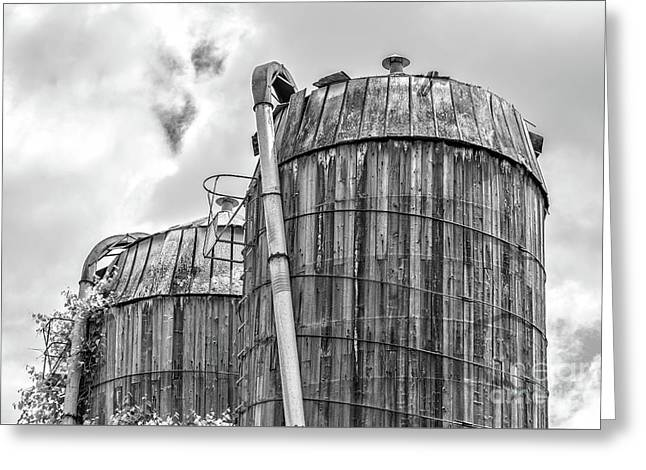 Old Wooden Silos Ely Vermont Greeting Card by Edward Fielding