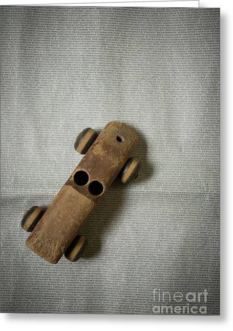 Greeting Card featuring the photograph Old Wooden Toy Car Still Life by Edward Fielding