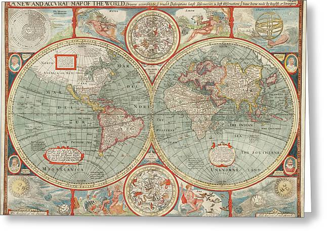 Old World Map By John Speed - 1626 Greeting Card
