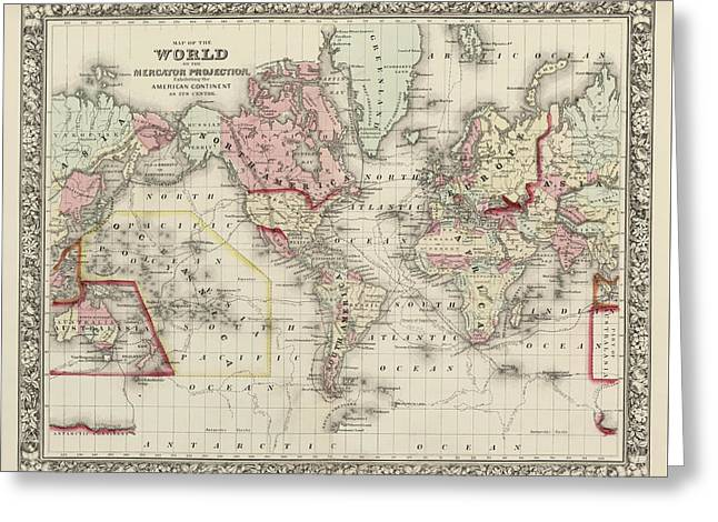 Old World Map By Samuel Augustus Mitchell - 1860 Greeting Card