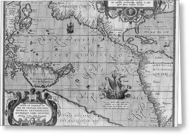 Old World Map Print From 1589 - Black And White Greeting Card