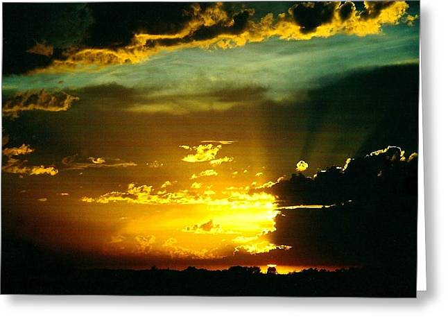 Old World Sunset Greeting Card by Shirley Sirois