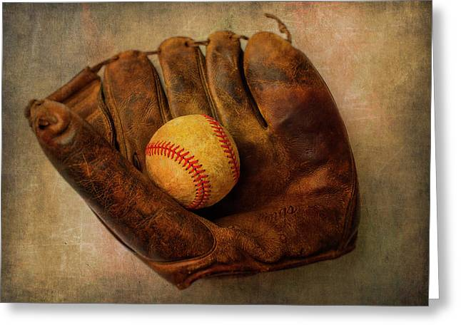 Old Worn Ball And Mitt Greeting Card by Garry Gay