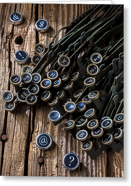 Old Worn Typewriter Keys Greeting Card by Garry Gay
