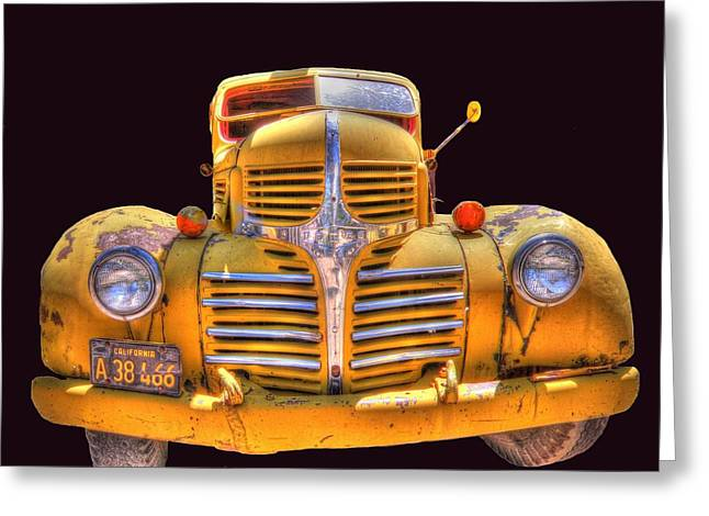 Old Yellow Dodge Greeting Card by Peter Schumacher