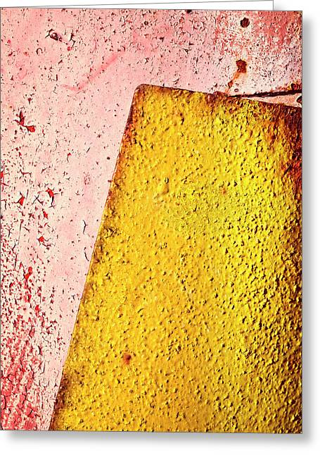 Old Yellow Plate On Red Greeting Card