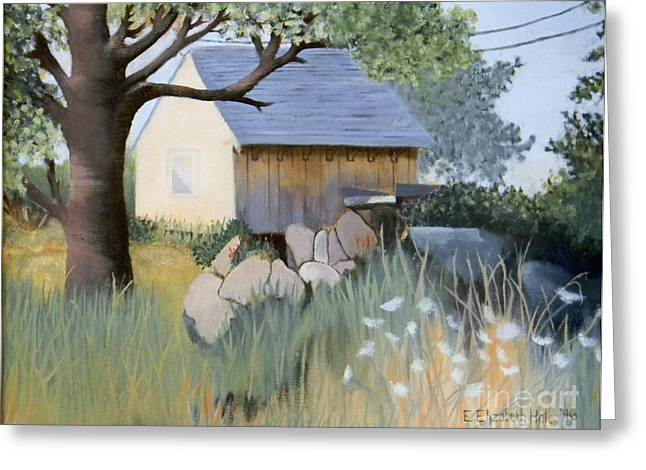 Old Yellow Shed Greeting Card by Emily Michaud