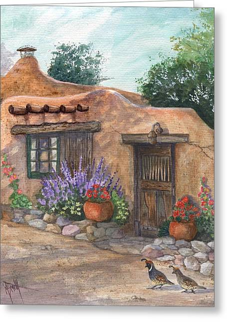 Old Adobe Cottage Greeting Card by Marilyn Smith