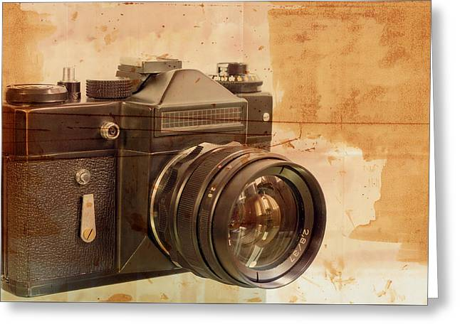 Old,dusty Photo Camera Greeting Card by Boyan Dimitrov