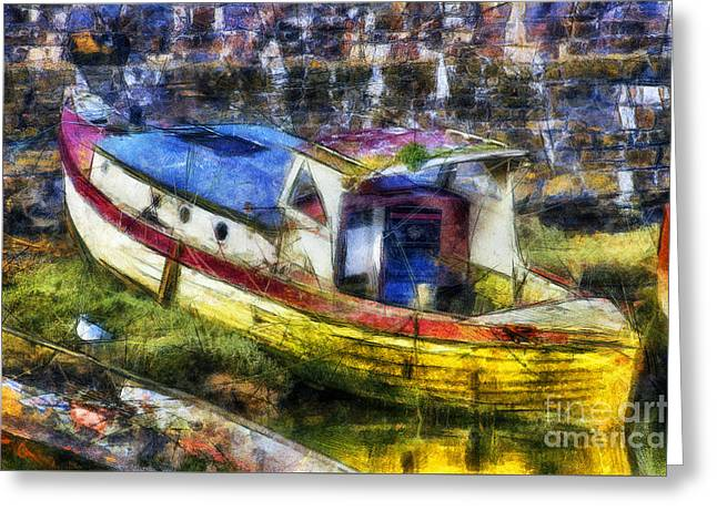 Olde Fishing Boat Greeting Card by Ian Mitchell