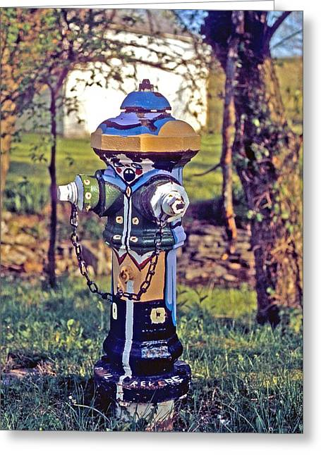 Greeting Card featuring the photograph Oldenburg Fireplug by Gary Wonning