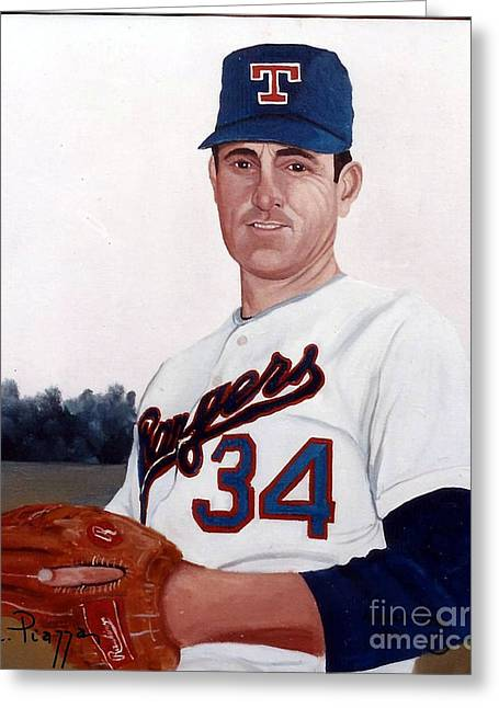 Older Nolan Ryan With The Texas Rangers Greeting Card by Rosario Piazza