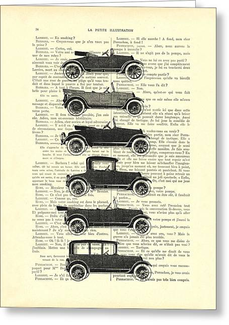 Collection Oldtimers In Black And White Vintage Illustration Greeting Card by Madame Memento