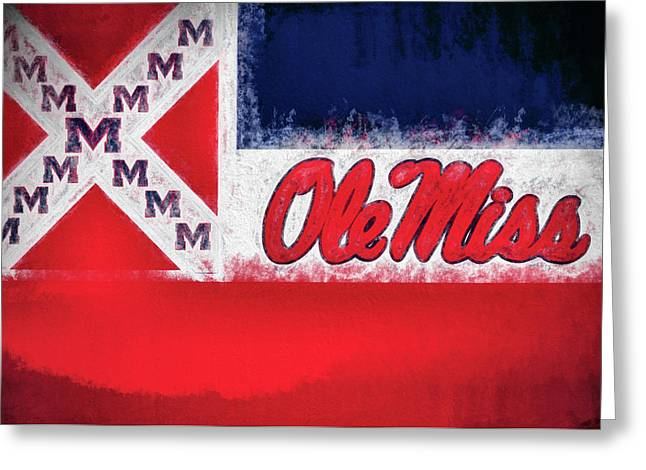 Ole Miss Mississippi State Flag Greeting Card by JC Findley