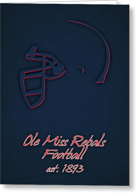 Ole Miss Rebels Helmet 2 Greeting Card by Joe Hamilton