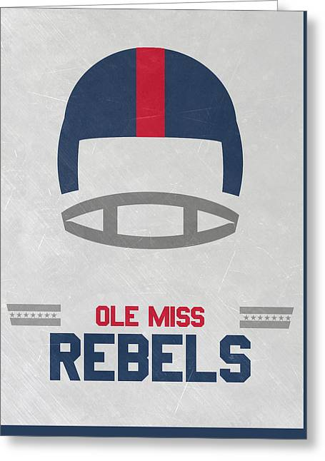 Ole Miss Rebels Vintage Football Art Greeting Card by Joe Hamilton