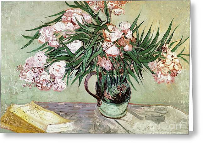 Pink Blossoms Greeting Cards - Oleanders and Books Greeting Card by Vincent van Gogh