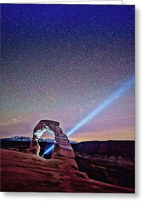 Olena Art Starry Night Pointer At Delicate Arch Moab National Park Greeting Card
