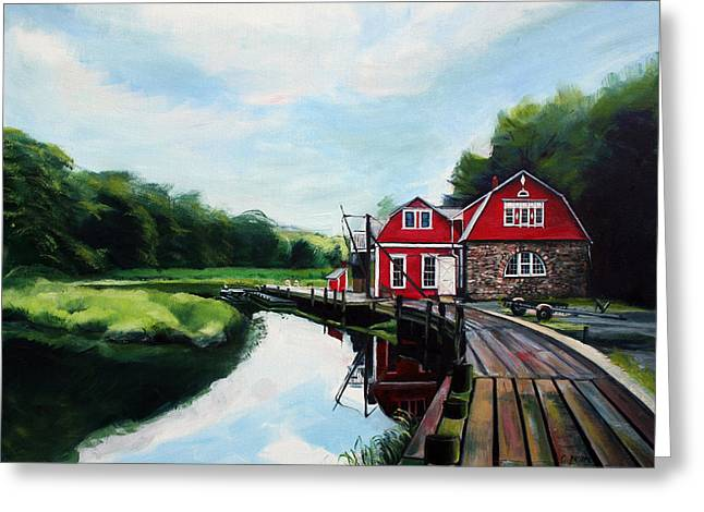 Ole's Boathouse In Riverside Connecticut Greeting Card by Colleen Proppe