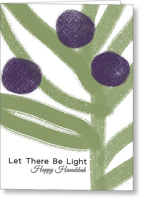 Olive Branch Hanukkah Card- Art By Linda Woods Greeting Card