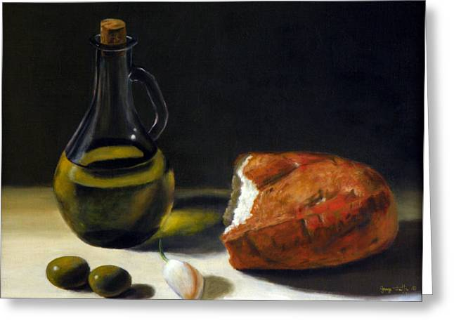 Olive Oil And Bread Greeting Card