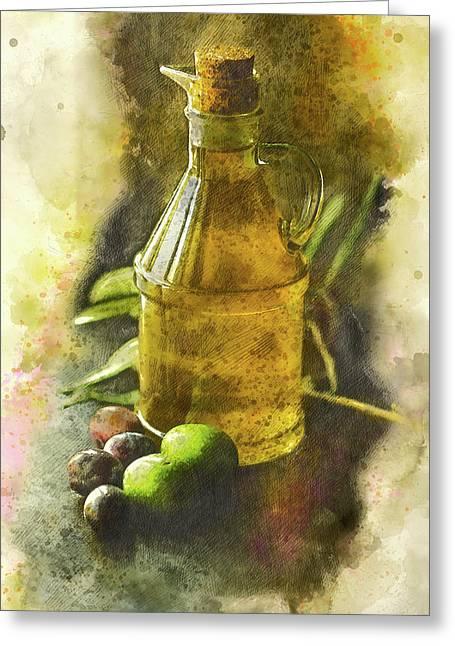 Olive Oil Greeting Card by Brigitte Werner