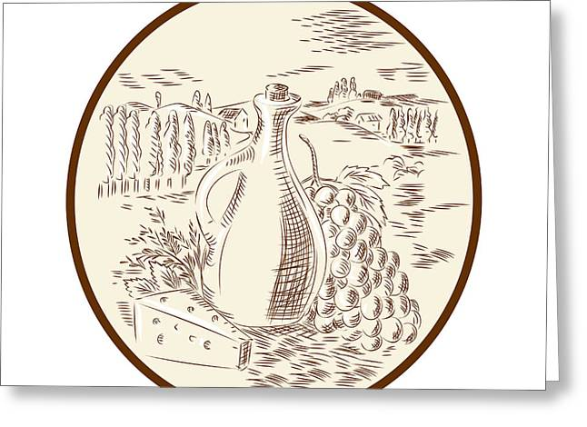 Olive Oil Jar Cheese Tuscan Countryside Etching Greeting Card by Aloysius Patrimonio