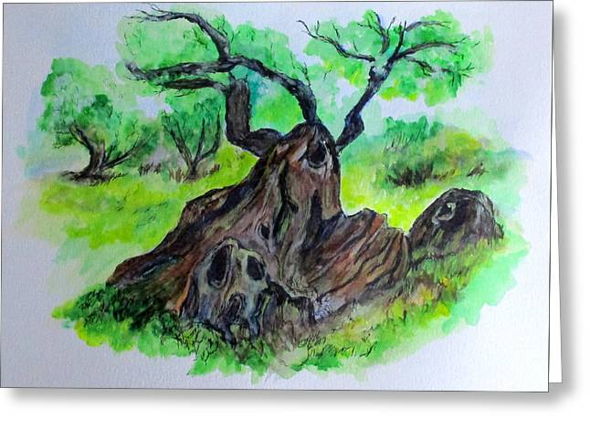 Greeting Card featuring the painting Olive Tree by Clyde J Kell