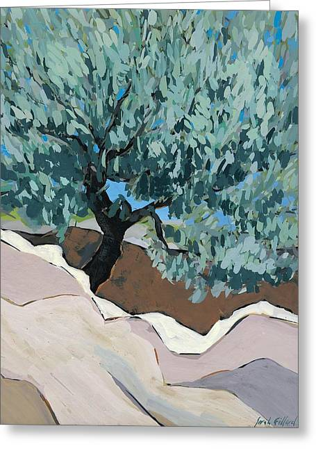 Olive Tree In Crevice Greeting Card by Sarah Gillard