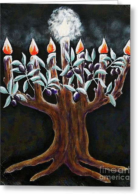 Olive Tree Menorah Greeting Card by Cheryl Rose