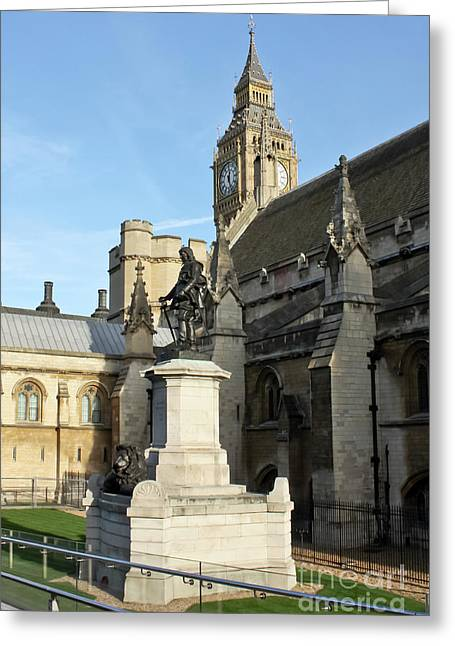 Oliver Cromwell Statue London Greeting Card by Terri Waters