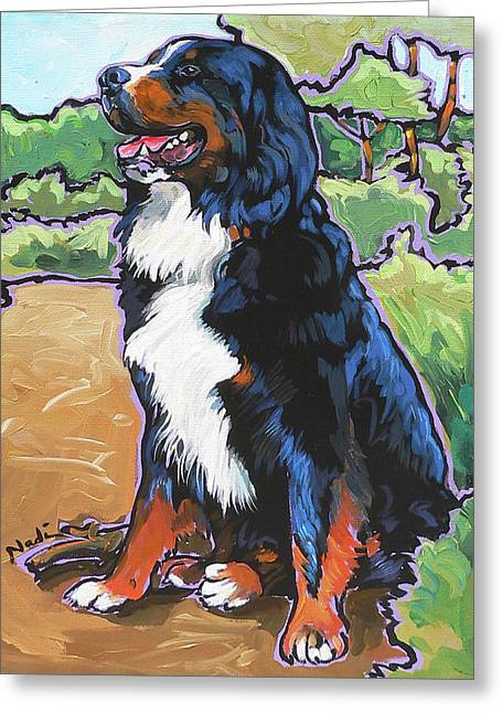 Greeting Card featuring the painting Oliver by Nadi Spencer