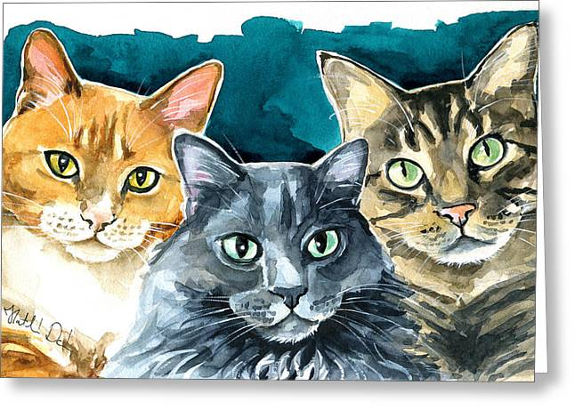 Oliver, Willow And Walter - Cat Painting Greeting Card