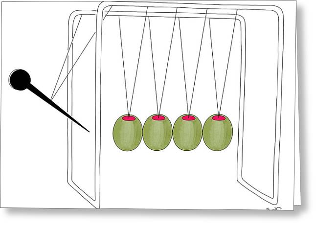 Olives And Toothpick On Newtons Cradle Greeting Card
