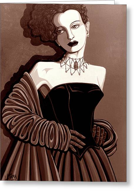 Olivia In Sepia Tone Greeting Card by Tara Hutton
