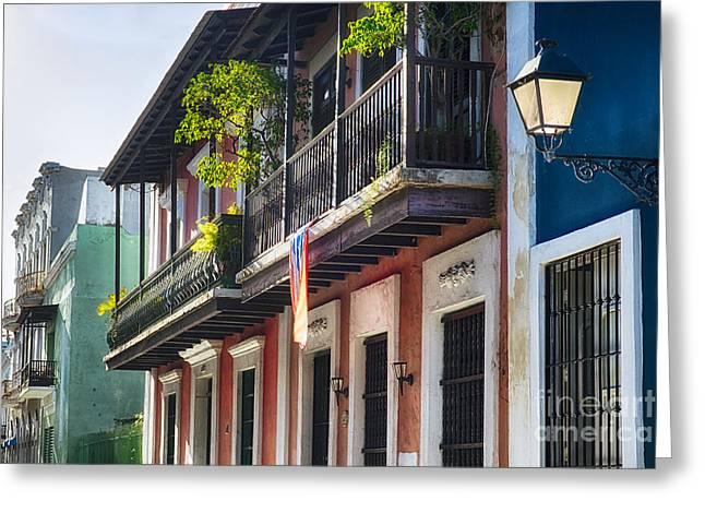 Old San Juan Street In Atmospheric Light Greeting Card
