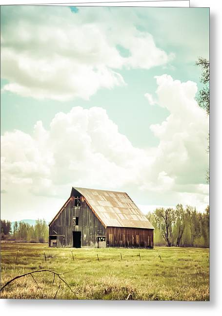 Olsen Barn In Green Greeting Card