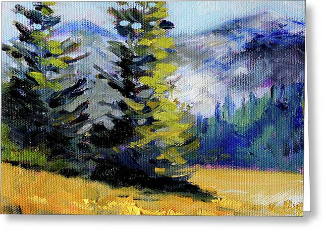 Greeting Card featuring the painting Olympic Range by Nancy Merkle