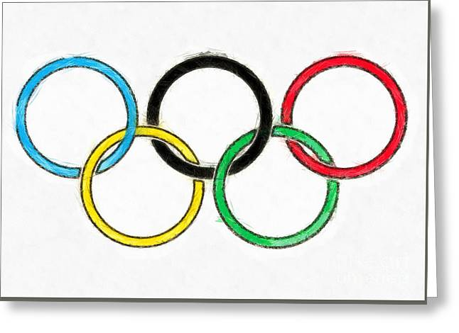 Olympic Rings Pencil Greeting Card