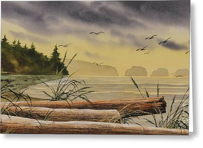 Greeting Card featuring the painting Olympic Seashore Sunset by James Williamson
