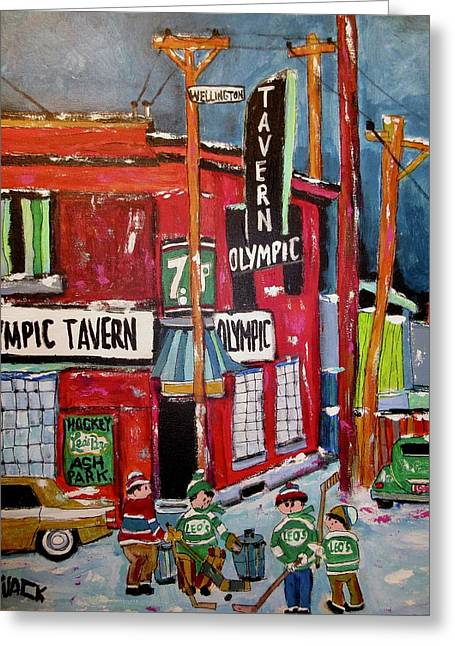 Olympic Tavern Wellington Point St. Charles  Greeting Card by Michael Litvack