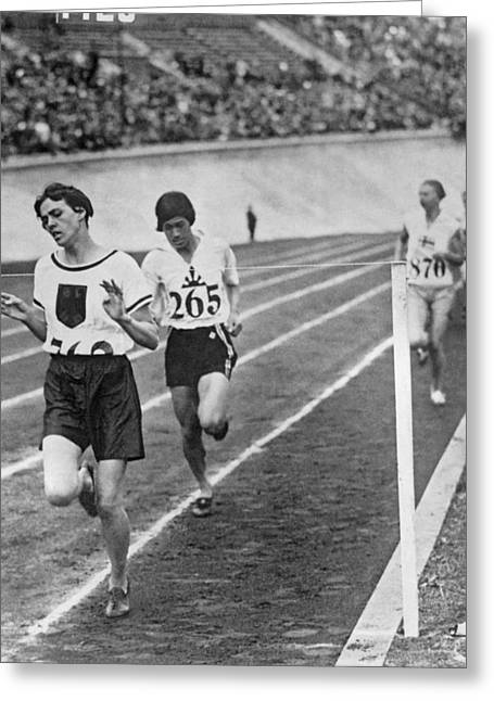 Olympic Women's 800 Meter Race Greeting Card by Underwood Archives