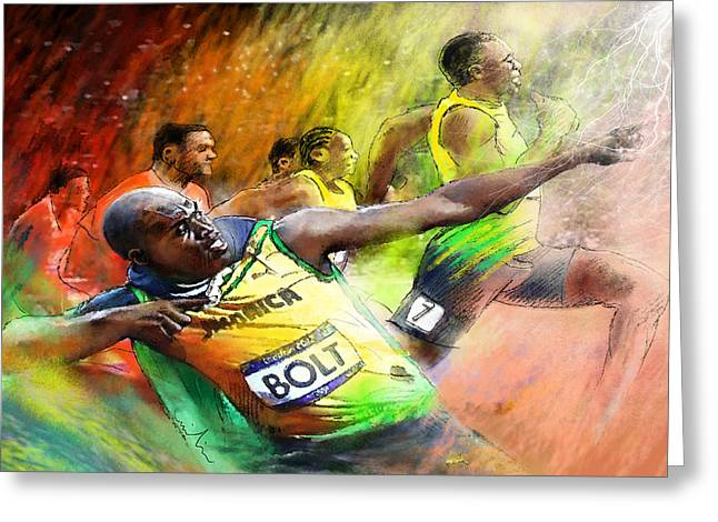 Olympics 100 M Gold Medal Usain Bolt Greeting Card