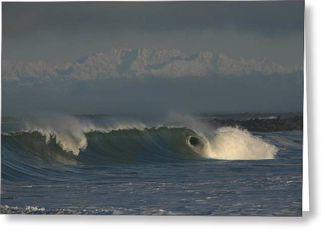 Olympics Over Halfmoon Bay Greeting Card by Mike Coverdale