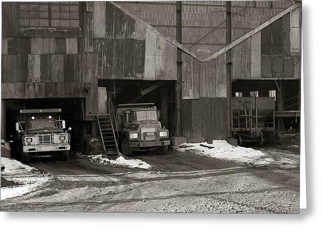 Olyphant Pa Coal Breaker Loading Trucks And Gondola Car Winter 1971 Greeting Card