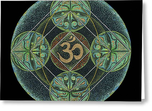 Greeting Card featuring the painting Om by Keiko Katsuta