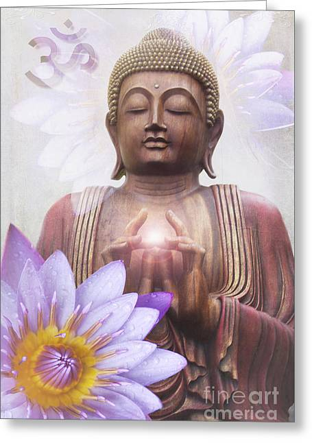 Om Mani Padme Hum - Buddha Lotus Greeting Card
