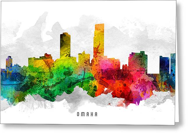 Omaha Nebraska Cityscape 12 Greeting Card by Aged Pixel